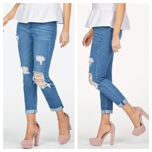 Distressed Jeans by JustFab are NWT. Size 33